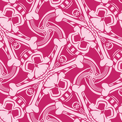★ PIRATE SKULL PLAID ★ Hot Pink - Large Scale / Collection : Funky Pirates - Skull and Crossbones Prints 2