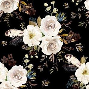 """8"""" Autumn Harvest Flowers - Black"""