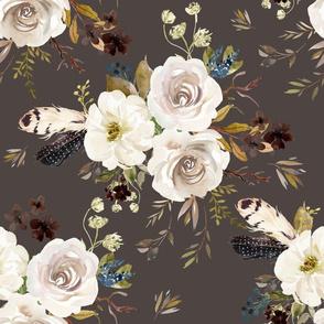 "18"" Autumn Harvest Flowers - Brown"