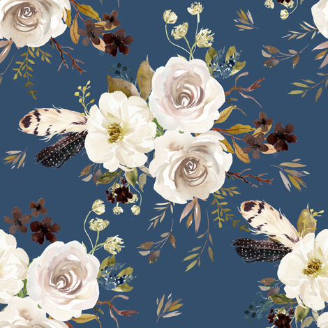 "8"" Autumn Harvest Flowers - Deep Blue fabric by shopcabin on Spoonflower - custom fabric"