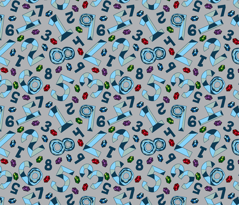 Number Gems fabric by modgeek on Spoonflower - custom fabric