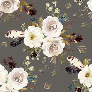 "8"" Autumn Harvest Flowers - Grey"