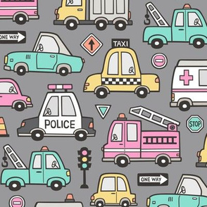 Cars Vehicles Doodle fabric on Pink on Dark Grey