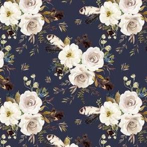 "4"" Autumn Harvest Flowers - Muted Navy"
