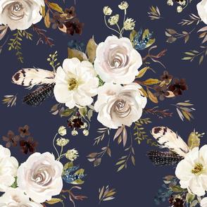 "18"" Autumn Harvest Flowers - Muted Navy"