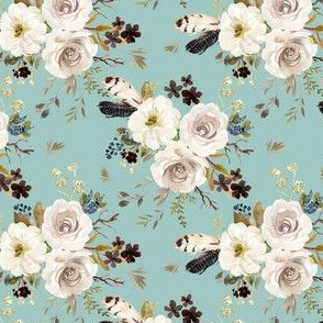 """4"""" Autumn Harvest Flowers - Muted Teal"""