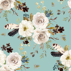 """18"""" Autumn Harvest Flowers - Muted Teal"""