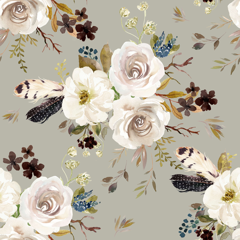 """8"""" Autumn Harvest Flowers - Taupe fabric by shopcabin on Spoonflower - custom fabric"""