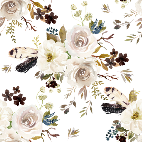 "8"" Autumn Harvest Flowers - White fabric by shopcabin on Spoonflower - custom fabric"