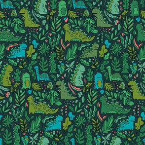 Small Tropical leaves and ancient dinosaurs design. Cute green dino pattern.