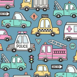 Cars Vehicles Doodle fabric Pink on Dark Blue Navy
