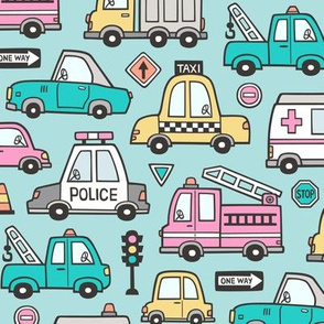 Cars Vehicles Doodle fabric on Pink on Light Blue
