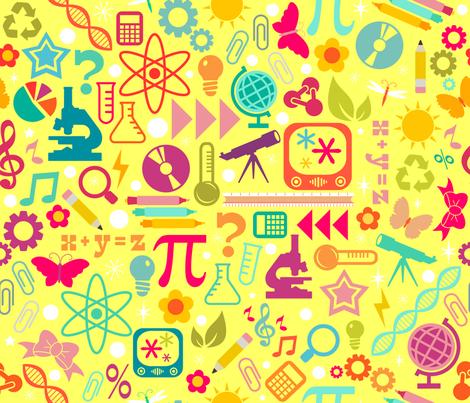 STEM Girls Rule - Yellow fabric by creativetaylor on Spoonflower - custom fabric