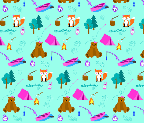 Camping Cutie fabric by melam on Spoonflower - custom fabric