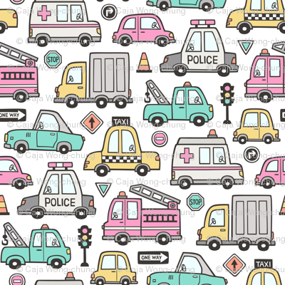 Cars Vehicles Doodle fabric Pink on White