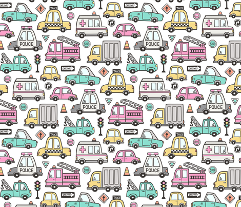 Cars Vehicles Doodle fabric Pink on White fabric by caja_design on Spoonflower - custom fabric