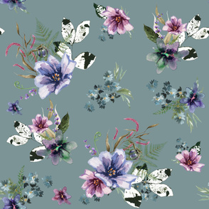 "36"" Woodland Fairytale Florals - Stormy Blue"