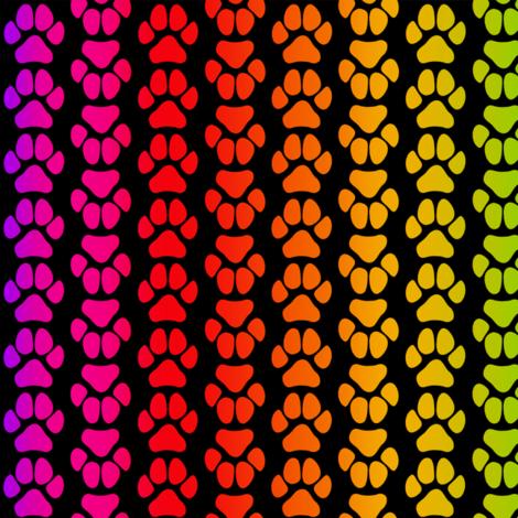 Rainbow Paw Print Large fabric by olly's_corner on Spoonflower - custom fabric