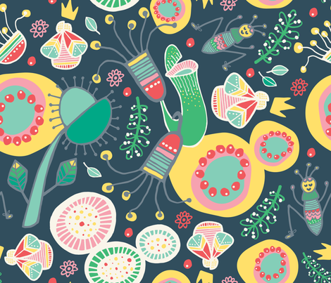 Curious Carnivorous Plants fabric by thedoodlingdesigner on Spoonflower - custom fabric