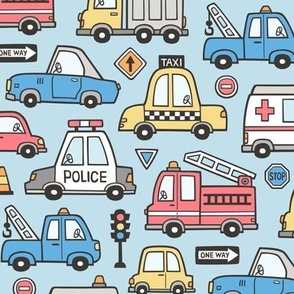 Cars Vehicles Doodle fabric on Light Blue