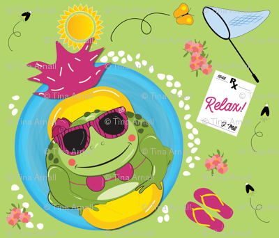 Girl toad in pool - relaxing