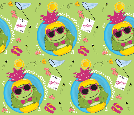 Girl toad in pool - relaxing fabric by little_apple_designs on Spoonflower - custom fabric