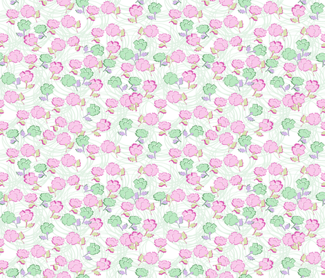 Dizzy Lizzy Floral in celadon fabric by lilyoake on Spoonflower - custom fabric