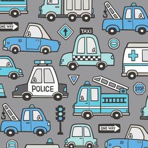 Blue  Cars Vehicles Doodle fabric on Dark Grey