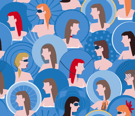 Women with Hats in ascot fabric by edrouga on Spoonflower - custom fabric