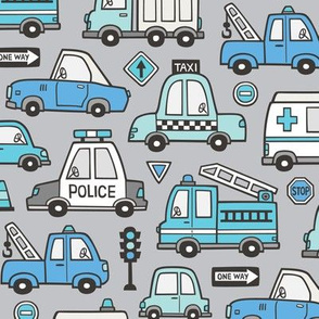 Blue  Cars Vehicles Doodle fabric on Light Grey