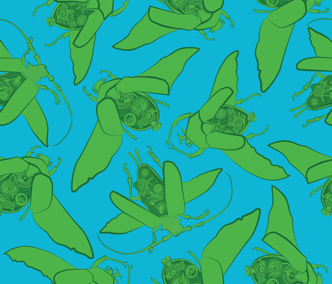 Clockwork Bugs fabric by ravecave on Spoonflower - custom fabric