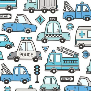 Blue  Cars Vehicles Doodle fabric on White