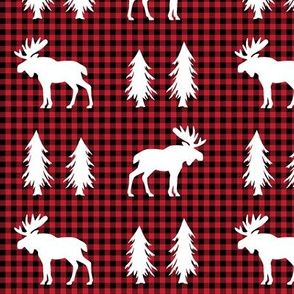 Moose  – Woodland Trees, Black / Red Plaid
