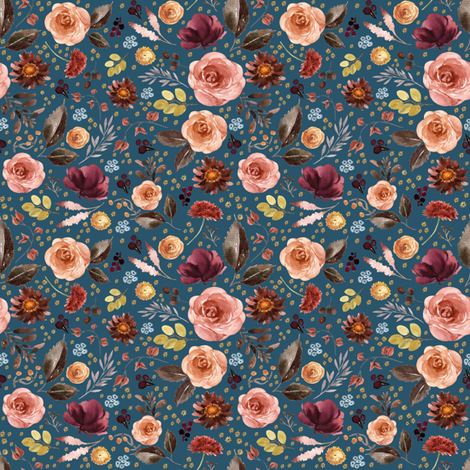 "4"" Boone Fall Florals - Blue fabric by shopcabin on Spoonflower - custom fabric"