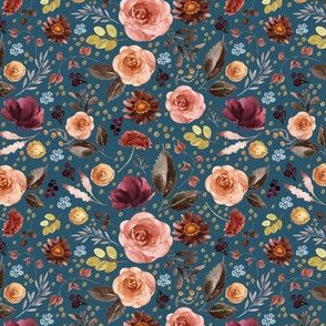 "4"" Boone Fall Florals - Blue"