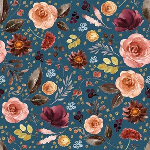 "8"" Boone Fall Florals - Blue"