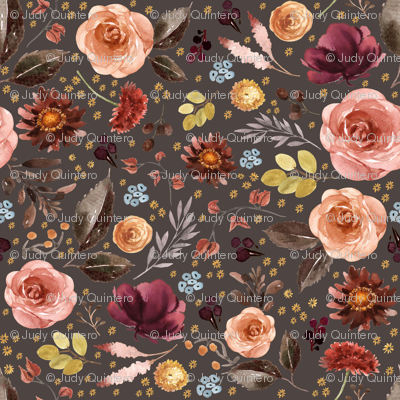 "4"" Boone Fall Florals - Brown"