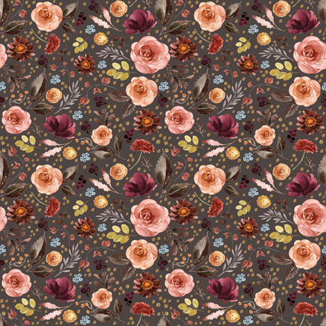 "4"" Boone Fall Florals - Brown fabric by shopcabin on Spoonflower - custom fabric"