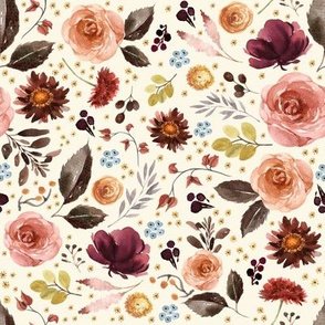 """8"""" Boone Fall Florals - Ivory"""