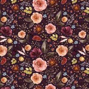 "4"" Boone Fall Florals - Deep Purple"