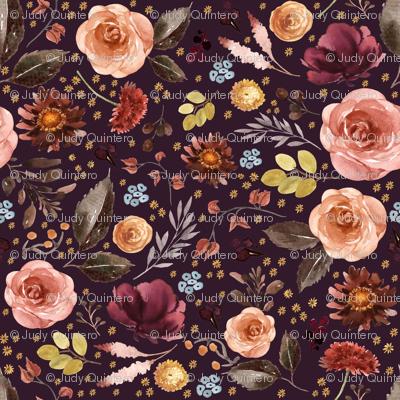 "8"" Boone Fall Florals - Deep Purple"