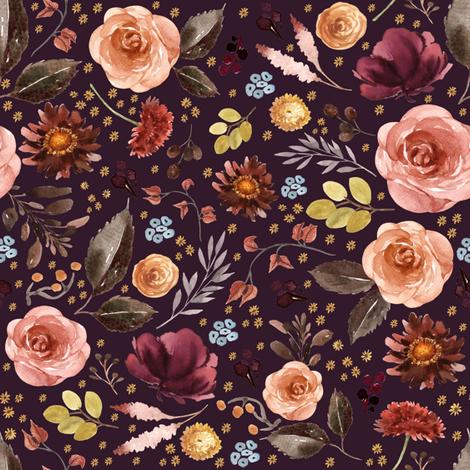 "8"" Boone Fall Florals - Deep Purple fabric by shopcabin on Spoonflower - custom fabric"