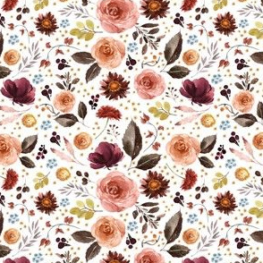 "4"" Boone Fall Florals - White"