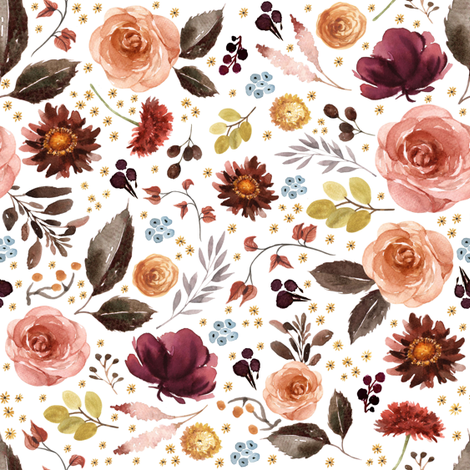 "8"" Boone Fall Florals - White fabric by shopcabin on Spoonflower - custom fabric"