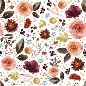 "8"" Boone Fall Florals - White"