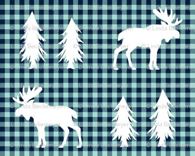 Moose  – Woodland Trees, Navy / Mint Plaid