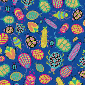 Colorful tropical bugs on a blue background.