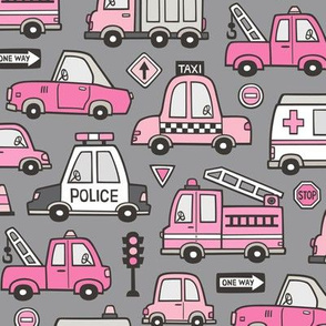 Pink Cars Vehicles Doodle fabric on Dark Grey