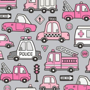 Pink Cars Vehicles Doodle fabric on Light Grey