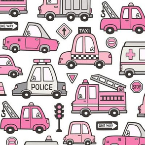 Pink Cars Vehicles Doodle fabric on White